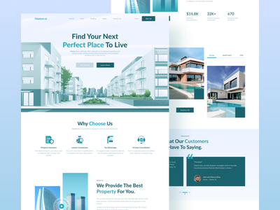 Ndalem.oi - Real Estate Landing Page Website design house architecture web design uiux agency web illustration hero illustration hero ui website landingpage home building apartment properties residence realestate