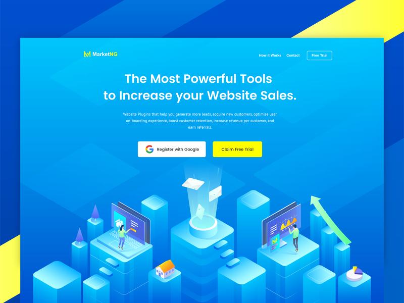 Header Illustration For Marketing Tools business development sales website tools marketing vector web landing page hero illustration design illustration isometric