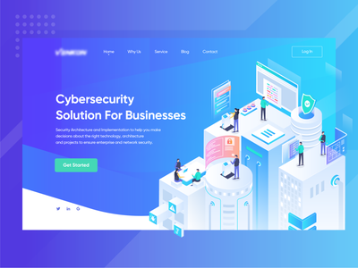 Cybersecurity Solution For Businesses header network app hero illustration design cybersecurity business web landing page isometric illustration