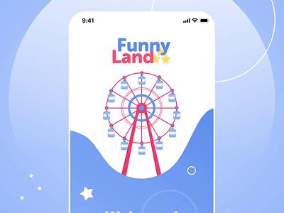 Amusement Park app - navigation flow animation clean motion graphics after effect park amusement park mobile app colorfull blue prototype interactive uiux animation ux ui product design motion