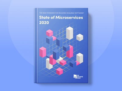 """Cover of """"State of Microservices 2020"""" report minimalist geometric microservices ui blue illustration clean brand typography"""