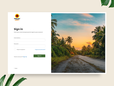 UI challenge 001 - Sign up concept uidesign signup tropical plant natural minimalist login dailyui card