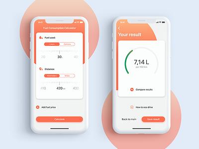 UI challenge 004 - Calculator iphone x orange fuel mobile app ios ux ui 004 dailyui
