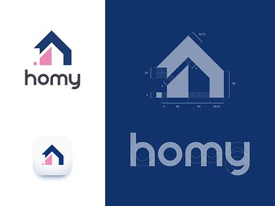 homy logo - construction construction typography pink mark logotype logo brand and identity homely home geometric estate agency branding brand blue