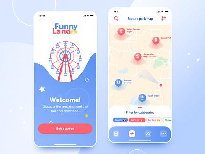 Amusement Park app brand typography launch navigation map gradient amusement park amusement ux ui blue