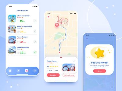 Amusement Park app - navigation & planning amusement park amusement navigation gradient geometric illustration clean brand app typography ui blue