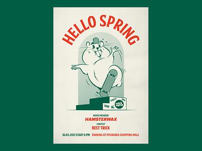 Hello Spring 2021 skateboarding hamster posterdesign poster illustration