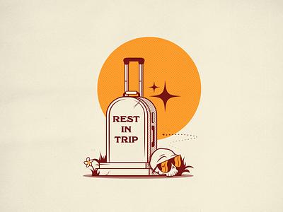 Rest in trip suitcase baggage grave trip holidays skull luggage illustrator illustration