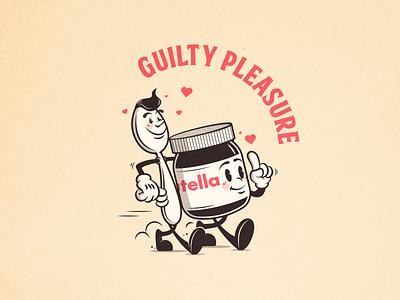 Guilty pleasure classic cartoon spoon jar nutella design illustrator illustration