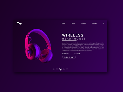WIRELESS HEADPHONES landing page webdesign headphone ui design uidesign uiux ui