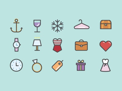 You Guessed It Dribbble! Even More Icons! icon wireframe simple flat ui modcloth women anchor snowflake watch dress