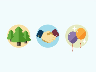 Flat Illustration flat simple illustration icon colorful color trees handshake playful party
