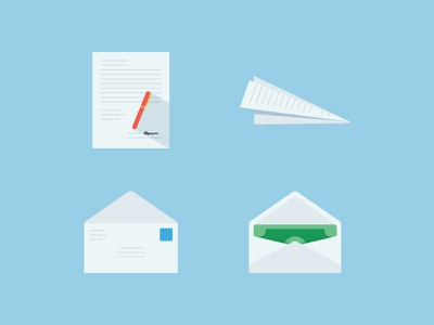 Contracts and Cash cash transfer simple colorful envelope paper airplane illustration flat money icons