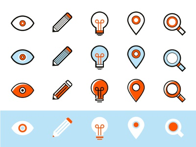 Icon Exploration marker search eye pencil lightbulb flat simple vector icons