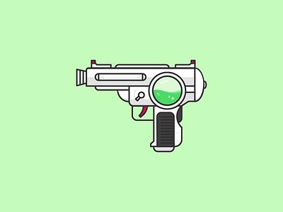 Ray Gun sci fi icon doodle green laser futuristic future flat vector lineart illustration raygun