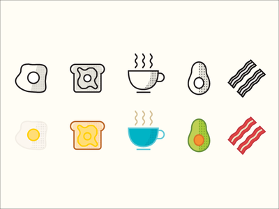 Breakfast bacon coffee avocado egg toast line illustration vector illustration