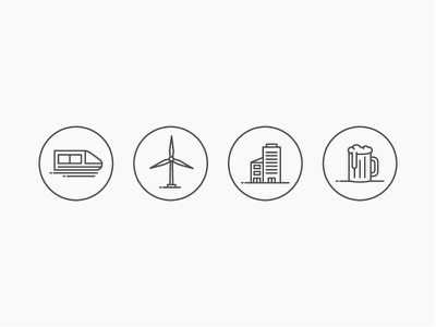 Misc. Icons illustrations icons simple linework vector flat drink beer building windmill train