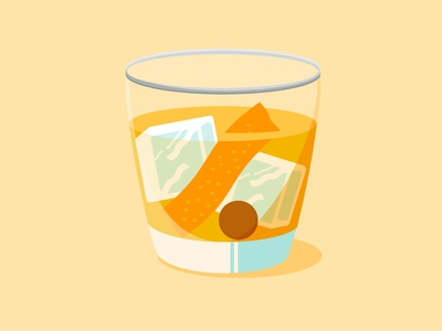 Classic Old Fashioned orange ice cherry icon illustration simple modern flat alcohol drink cocktail