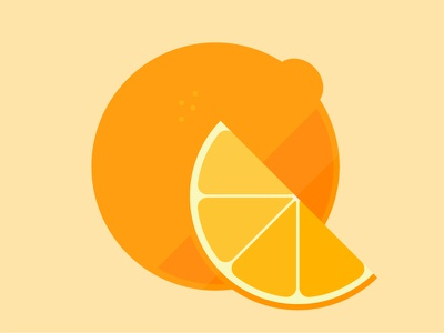 Orange Part Deux icon illustration simple modern flat citrus fruit orange