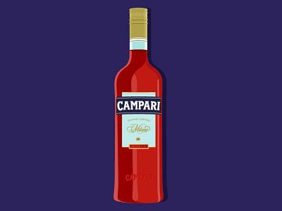 Campari simple minimal flat illustration alcohol campari