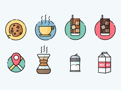 More food simple line vector map cookie milk coffee illustration icon flat