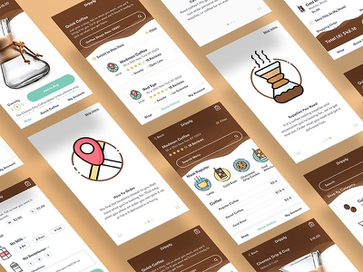 Dripply App Concept brown simple delivery coffee illustration icons ux ui flat app mobile app