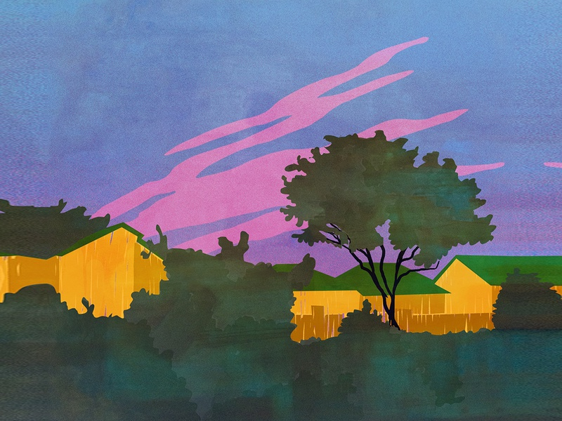evening countryside evening nature colors vector gradient illustration