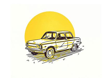 Habana summer heat sun yellow sovietcar oldcar cuba habana