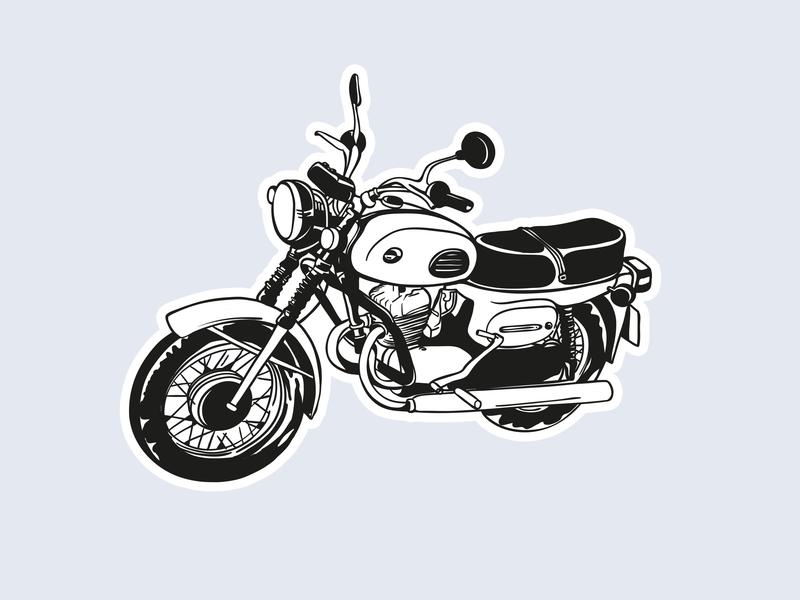 Voskhod vector illustration design blackandwhite motorcycle sticker design sticker
