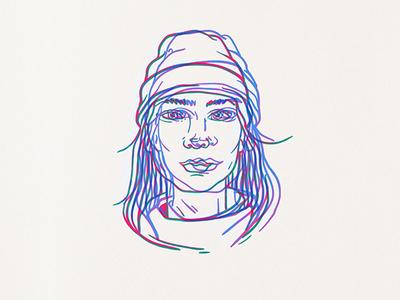 dizzy graphics illustration lights red blue portrait vector lineart lines