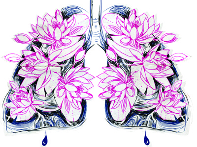 Dribbble194 lungs water lillies lilly flower blood drop breath useless pain black sketch old grungy iscariotteh elena-greta apostol