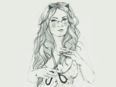 Dribbble 196 iscariotteh elena-greta aposto fashion selfportrait cat glasses scissors blood dots hair line linework sketch pencil paper inspiration art sketchbook symbol