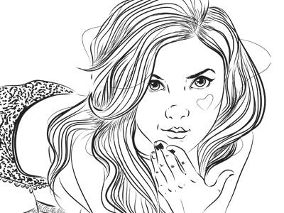 Dribbble 198 sketch linework black eyes heart cheek hair lingerie iscariotteh elena-greta apostol selfportrait