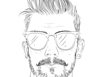 Dribbble 199 glasses beard moustache tunnels hair linework portrait freakles sketch iscariotteh elena-greta apostol