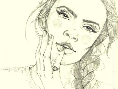 Dribbble205 hair eyes portrait lips hand study make up iscariotteh elena-greta apostol cupcake