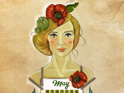 Dribbble 208 may calendar 2014 poppy fashion illustration milk ginger elena-greta apostol iscariotteh