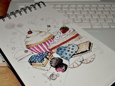 Dribbble51 illustration sketch elena-greta apostol ink pen sweets cake cupcake muffin candy chocolate biscuit heart cinnamon