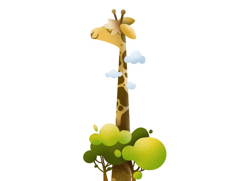 One Tall Giraffe jungle procreate animal wild illustration design art elena-greta 36 days of type giraffe tall one