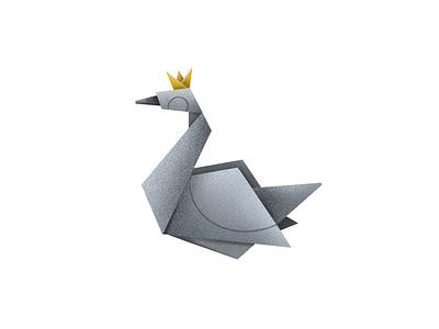 Two paper folds Swan 36 days of type illustration design art elena-greta paper fold queen black swan origami swan 2 day 28