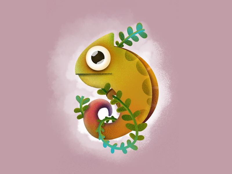 Nine Chameleon colors typography type 9 nine elena-greta ipad pro art procreate digital art illustration design ivy plant tangled animal cute reptile chameleon 36 days of type day 35