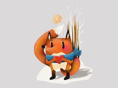 A heart kept warm elena-greta design art illustration children book nature knit sun winter cold heart orange foxie fox