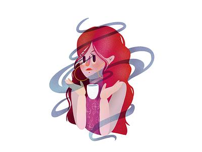 Tea time magic ipad pro procreate elena-greta illustrator design art illustration portrait redhead red hair magic hot drink tea steam