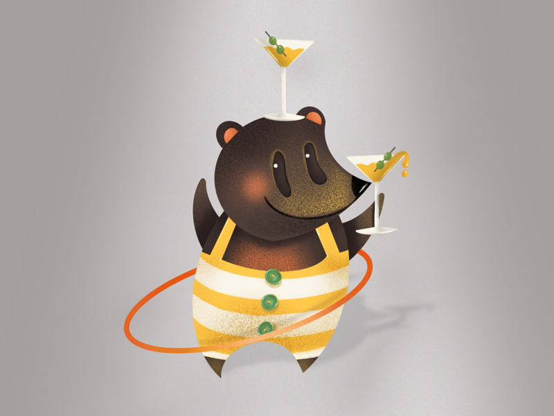 Honey Martini Party ipad pro procreate design art elena-greta book illustration stripes hula hoop cocktails drink martini honey bear