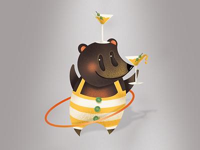 Honey Martini Party ipad pro procreate design art elena-greta book illustration stripes hula hoop cocktails drink martini honey bear