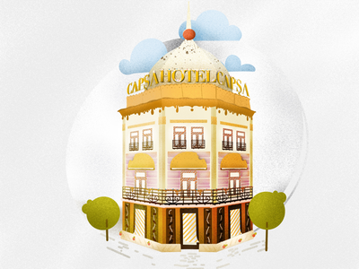 Capsa Hotel with sugar on top digital art procreate illustration elena-greta architecture bucharest romania desser sweet casa capsa