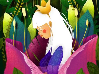Thumbelina princess jungle tulip flowers plants procreate illustration art elena-greta book thumbelina childhoodweek