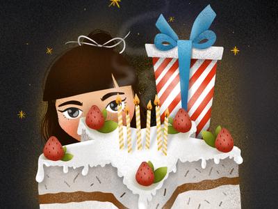 Wish ipad pro art procreate illustration design art elena-greta little girl birthday cake birthday wish day 2 childhoodweek2019 childhoodweek
