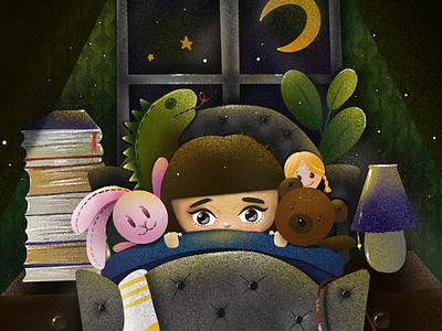 Alone procreate illustration design art elena-greta dark toys bedroom child alone