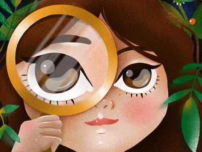Seek illustration digital procreate elena-greta magnifier looking glass small plants eyes portrait seek