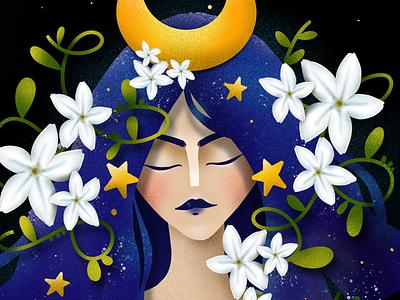 Night digital art procreate magic flowers fairy night elena-greta childhood week 2019